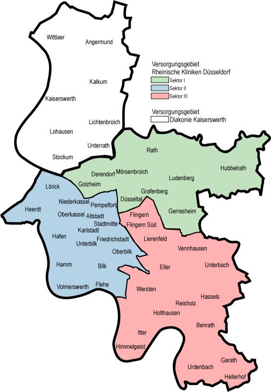 Düsseldorf Stadtteile Karte.Kommunale Einbindung Versorgungsbereiche Lvr Klinikum Düsseldorf